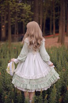 Sakura In Spring~ Lolita Fullset [--OP Dress + Embroidery Waist Belt + Triangular Scarf + Pinafore--] Kawaii Fashion, Lolita Fashion, Cute Fashion, Vintage Fashion, Rock Fashion, Emo Fashion, Gothic Fashion, Old Fashion Dresses, Fashion Outfits