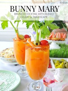 An easter brunch cocktail Bunny Mary, that is a bloody mary made with carrot juice & garnished with a celery bunny. Plus a look at my Easter Brunch tablescape with H-E-B that includes bunny muffins. Easter Drink, Easter Cocktails, Brunch Drinks, Easter Dinner, Vodka Cocktails, Easter Food, Craft Cocktails, Easter Party, Easter Lunch