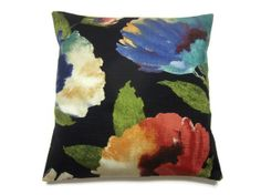 Two Black Blue Green Turquoise Red Cream Pillow Covers Decorative Modern Floral Accent Throw Toss Pillow Covers 16 inch.Etsy.