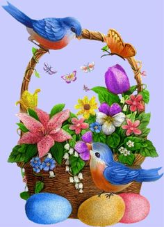 Spring Pictures, Easter Pictures, Bird Pictures, Easter Drawings, Art Drawings For Kids, Happy Easter, Easter Bunny, Ostern Wallpaper, Easter Stickers
