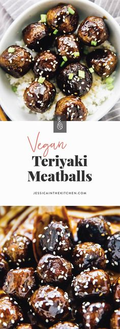 These Vegan Teriyaki Meatballs have the perfect texture and taste divine! They are incredibly easy to make, coated in a homemade sweet and sticky teriyaki sauce and so meal preppable! Teriyaki Meatballs, Vegan Meatballs, Parmesan Meatballs, Vegan Teriyaki Sauce, Vegetarian Meatballs, Whole Food Recipes, Cooking Recipes, Eat This, Vegan Main Dishes