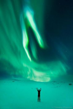 Aurora borealis in Norway (Northern Lights by Tommy Eliassen) -- Always been one of my dreams. to witness an Aurora Borealis. All Nature, Science And Nature, Aurora Borealis, Beautiful Sky, Beautiful World, Beautiful Things, Skier, Sistema Solar, Peekaboo Highlights