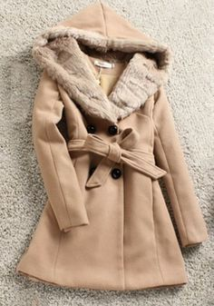 Camel Plain Buttons Long Sleeve Thick Wool Coat