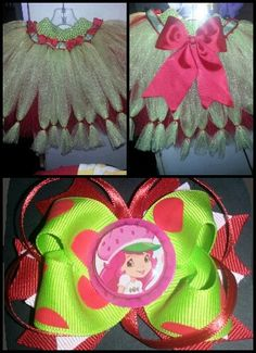 Strawberry Shortcake tutu/matching bow. My 3yrs old b-day outfit.