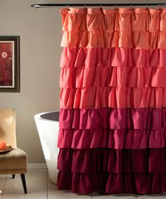 Look what I found on #zulily! Peach & Plum Addison Ruffle Shower Curtain #zulilyfinds