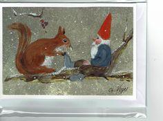 Grüße - Grußkarte - Wichtel mit Eichhörnchen - ein Designerstück von Vogelmalerin bei DaWanda