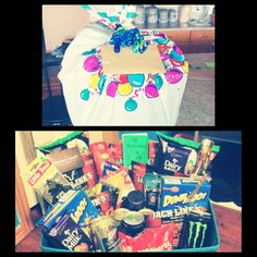 I made my Best Guy Friend a Birthday Gift Basket!! I got the bin at walmart. Then what I put in it was...Axe body spray and hair gel. Old spice body wash, Monster Energy drinks, he's favorite beer, dunkeroos, jalapeño chips, lighters, cinnamon hearts, a hair salon gift card, beef jerky, a giant lighter, hazelnut and almond dairy milk chocolate bars, air fresheners for his truck. Then I got a mini note book and made him '76 reasons why he's my handsome best friend' just to top it off!