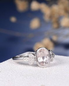 Antique Morganite Engagement Ring Delicate Oval Cut Morganite Ring White Gold Wedding Ring Flower Leaf Milgrain Bezel Set Anniversary Bridal ITEM INFORMATION: Metal Type: Solid 14K White Gold Band Width: 1.8mm Size: US4-9 Center Stone: 5.5*7.5mm Natural Morganite Color: Peachy Side