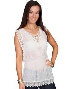 #LACETREND Scully White Sheer Lace Sleeveless Blouse - Women's Tops - Women's