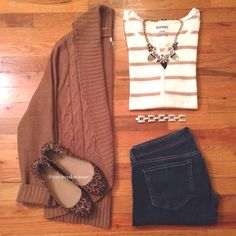 Gold stripe thermal, leopard flats, knit sweater