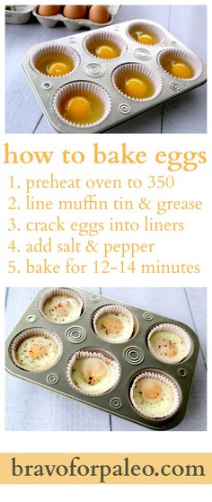 How to bake eggs <> (breakfast, brunch, bake, recipe) Paleo Recipes, Low Carb Recipes, Real Food Recipes, Cooking Recipes, Yummy Food, Cooking Eggs, Disney Recipes, Paleo Food, Disney Food
