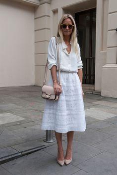 White on white with a blush bag