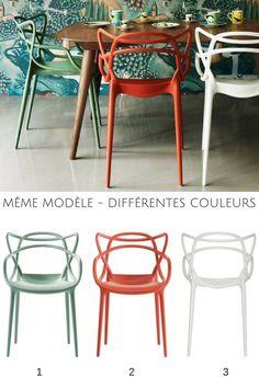 Modèle similaire et couleurs différentes, une bonne idée pour dépareiller vos chaises et apporter une touche de fantaisie dans la salle à manger ou la cuisine !  http://www.homelisty.com/chaises-depareillees/