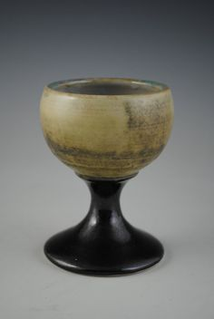 Tan Gray Ceramic Goblet with Black Stem by TheCeramicsGallery, $22.00