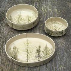 Slab built stoneware bowls with fern impressions. The post Slab built stoneware bowls with fern impressions. Hand Built Pottery, Slab Pottery, Pottery Bowls, Ceramic Bowls, Ceramic Pottery, Stoneware, Ceramic Clay, Pottery Painting, Ceramic Painting