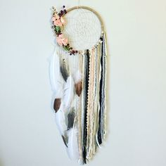 Dreamcatcher Unique Bohemian Dream catcher by BlairBaileyDesign Bible Crafts For Kids, Diy For Kids, Fun Crafts, Arts And Crafts, Cork Crafts, Shell Crafts, Boho Bedroom Diy, Bedroom Ideas, Fall Sewing
