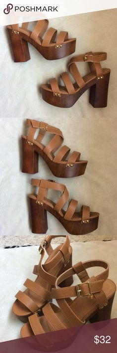 2e12ec8595ce NWT chunky platform tan wood sandals Brand new Qupid Shoes Platforms Kinds  Of Shoes