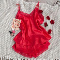 Satin Top & Shorts Lingerie Set - Plus Size | Mentionables