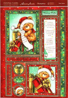 Hunkydory Christmas Cuddles die cut toppers & card - Dear Santa, cute teddy Christmas Decoupage, Christmas Paper, Christmas Images, Little Christmas, Christmas Wishes, Christmas Time, Printable Cards, Printables, Christmas Gift Card Holders