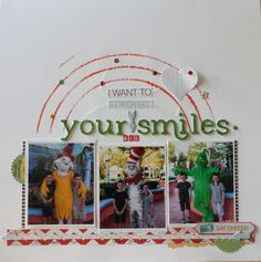 By Louise. Love the position of photos, strip along the bottom and pinking circle punch just peeping out! Disney Scrapbook, Scrapbook Cards, Green Eggs And Ham, Circle Punch, Scrapbook Page Layouts, Universal Studios, Sell On Etsy, New Beginnings, Bugs