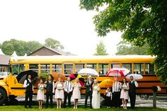 Even the rain couldn't dampen this outdoor wedding! With a school bus as wedding transportation, the wedding party packed umbrellas for any unexpected weather (and some fun wedding photos). | Jamie & Josh's Sweet Spencer, MA Real Wedding by Zac Wolf Photography #myweddingmag