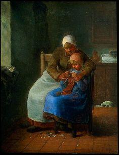 Jean Francois Millet - Knitting Lesson (II) - 1850