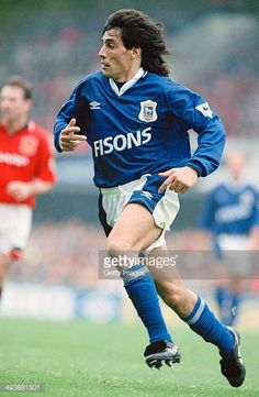 Uruguayan footballer Adrian Paz playing for Ipswich Town against Manchester United at Portman Road Ipswich September 1994 Ipswich won the match. Football Cards, Football Players, Fifa, Ipswich Town Fc, Blue Army, Star Wars, Everton Fc, Manchester United, Tractor