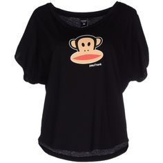 Paul Frank T-shirt ($25) ❤ liked on Polyvore featuring tops, t-shirts, black, black short sleeve t shirt, black t shirt, paul frank, black short sleeve top и logo tee