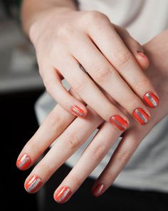 The Best Beauty Looks from NYFW SPRING 2013 - Monika Chiang: Zoom! The silver racing stripe nails seen here provided a fresh, sporty look we loved.