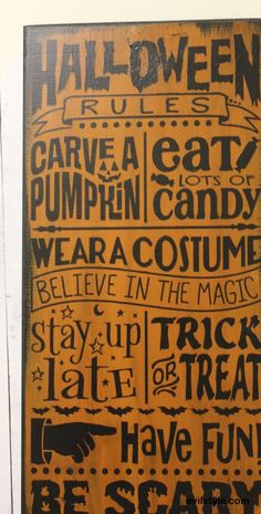 Halloween Rules Sign/Carve Pumpkin/Wear Costume/Stay up late/Trick or Treat/Halloween Party Sign/Halloween Decor//Wood Sign/Be Scary - http://evilstyle.com/halloween-rules-signcarve-pumpkinwear-costumestay-up-latetrick-or-treathalloween-party-signhalloween-decorwood-signbe-scary