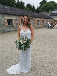 Kate looking incredible in our Theia 'Rochelle' gown with our blue slip dress underneath .slip is also available in Ivory, Blush and Champagne. The Rochelle is now available to try in our Kilkenny bridal store . Bridal Stores, Brides, Champagne, Blush, Ivory, The Incredibles, Gowns, Wedding Dresses, How To Wear
