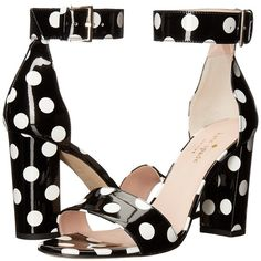Kate Spade New York Idabelle Too (Black/White Polka Dot Patent)... ($298) ❤ liked on Polyvore featuring shoes, ankle wrap shoes, open toe shoes, chunky heel shoes, kate spade shoes and white and black shoes
