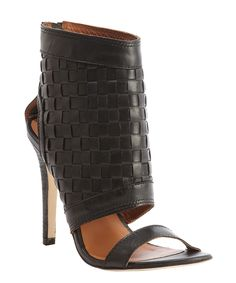 black textured leather 'Daniele' open toe sandals