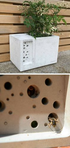 The stylish concrete planter Beepot bee hotel is awesome. The beepot is a bee friendly concrete planter with a bee hotel built in. It looks great in the garden, balcony or even on a doorstep whilst creating vital habitat for the bees and providing space for bee friendly planting, the perfect gift for the bee lover or garden lover in your life. #ad #concrete #pot #planter #bee #beepot #beehotel #homedecor #decoration #cement #giftidea