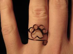 Wire Wrapped Paw Print Adjustable Ring MADE TO ORDER by 1ofAkinds, $6.00