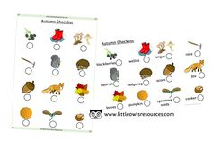 FREE Autumn Items Checklist printable Early Years/EY (EYFS) resource/download — Little Owls Resources - FREE Literacy Games, Learning Activities, Nursery Practitioner, Early Years Teacher, Fox Squirrel, Physical Development, Eyfs, Nursery Rhymes, Phonics