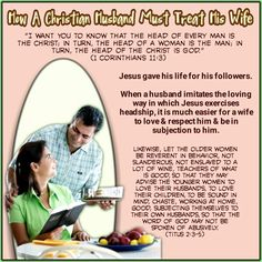 """""""I want you to know that the head of every man is theChrist; in turn, the head of a woman is the man; in turn, the head of the Christ is God.""""  (1Corinthians 11:3)  Likewise, let the older women be reverent in behavior, not slanderous, not enslaved to a lot of wine, teachers of what is good,so that they may advisethe younger women to love their husbands, to love their children,to be sound in mind, chaste, working at home, good, subjecting themselves to their own husbands,so that the…"""