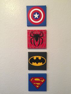Set of 6 10x10 Superhero wall art Handmade Super hero