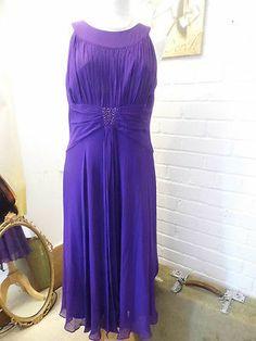 """Hobbs purple evening dress size 14 in Georgette silk 100% silk, 46"""", M,   eBay   SOLD"""