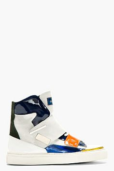 RAF SIMONS White Patent Leather & Canvas High Top Sneakers