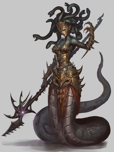 Context: The first Halfmer creatures were Dragons, the second ones were half snakes. I'm very inspired by greek myths and creatures. The story of Medusa is awfully beautiful Medusa Kunst, Medusa Art, Medusa Gorgon, Fantasy Wesen, Character Inspiration, Character Art, Fantasy Monster, Monster Design, Mythological Creatures