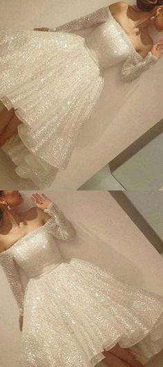 white charming shining homecoming dress long slevess prom