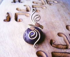 Wire Wrapped Adjustable Brass and Copper Ring by GearsFactory, €17.00