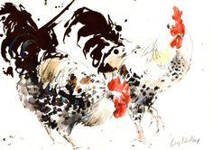 """Saatchi+Online+Artist+Lucy+Newton;+Mixed+Media,+""""Cockerels""""+#art"""