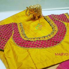 work work yellow designer blouse What's app Call 43586196 Mabyo Fashions, Krishnaswamy Street, Near Pazhavanthangal Subway, Nanganallur, Chennai. Cutwork Blouse Designs, Patch Work Blouse Designs, Pattu Saree Blouse Designs, Simple Blouse Designs, Blouse Neck Designs, Cut Work Blouse, Aari Work Blouse, Mirror Work Blouse Design, Designer Blouse Patterns