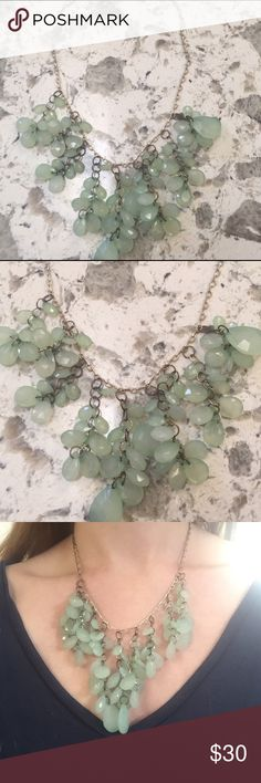 Waterfall Mint Green Beaded Necklace Gorgeous statement piece for any occasion! Waterfall layered style necklace featuring mint green beads. Looks stunning on and has easy to use back clasp Anthropologie Jewelry Necklaces