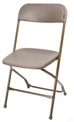 Plastic Seat & Back in Brown... $8.70 ea!  best price I've seen.  www.folding-chairs-tables-discount.com  Hotel Brown Plastic Folding Chair, Poly Brown Wholesale Chairs, lowest prices plastic folding chair