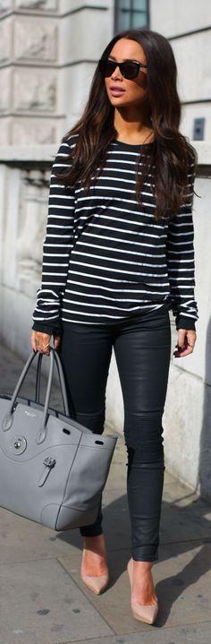 Black And White Striped Oversize Jumper
