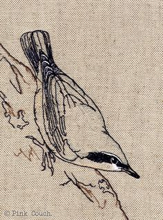 Machine Embroidery Nuthatch Embroidery freemotion framed by PinkCouchUK on Etsy, - Bird Applique, Bird Embroidery, Free Motion Embroidery, Cross Stitch Embroidery, Embroidery Ideas, Freehand Machine Embroidery, Machine Embroidery Patterns, Art Textile, Textile Artists