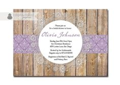 Lace Bridal Shower Invitation Purple Damask by digibuddhaPaperie by rinkage